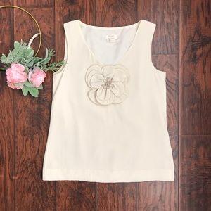 Kate Spade V Neck Ivory 100% Silk Sleeveless Top